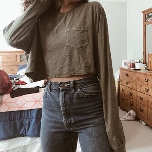 Oversized OLIVE green long sleeve crop